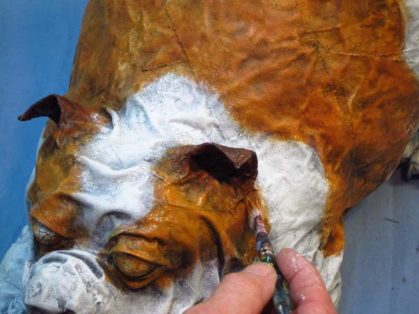 paper mache bulldog- highlight