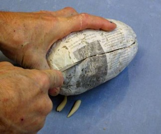 paper mache ball split