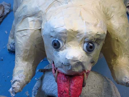 paper mache dog-eyes