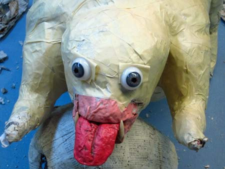paper mache dog-eyes 2