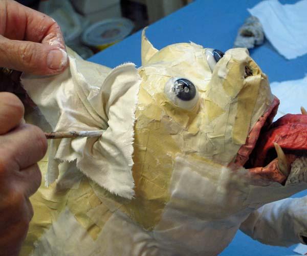 paper mache bulldog-cloth mache ear
