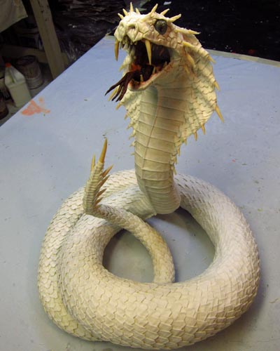 paper mache Naga ready to paint