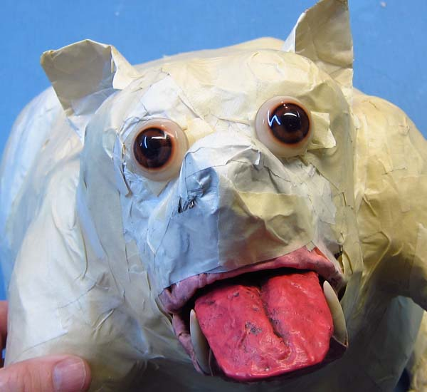 paper mache dog- new eyes
