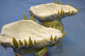 Year of the Paper Mache dragon-cloth mache jaws