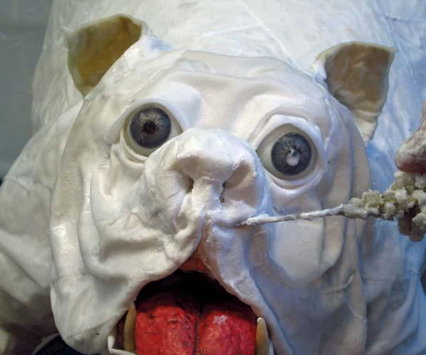 paper mache bulldog-cloth mache nose2