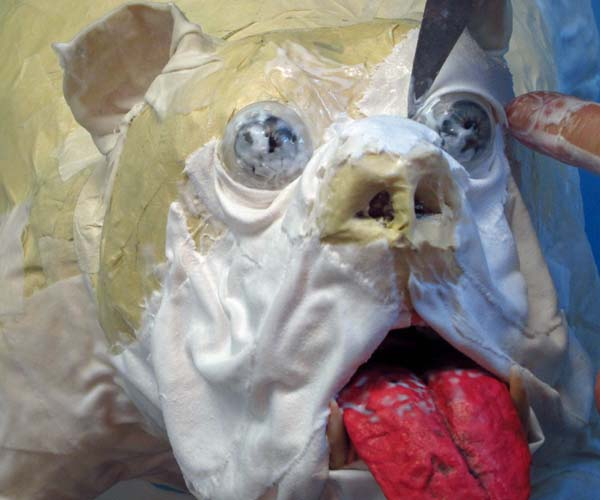 paper mache bulldog-cloth mache eyes
