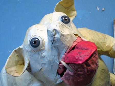 paper mache dog-face