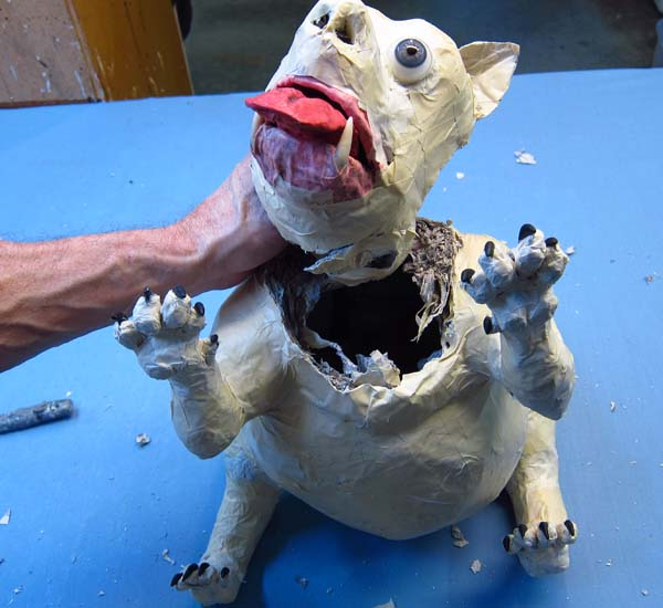 paper mache dog- cut off head