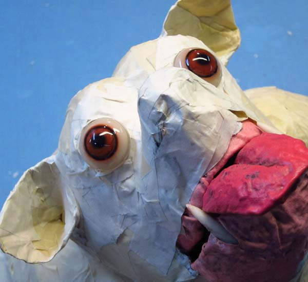 paper mache dog- more brown eyes