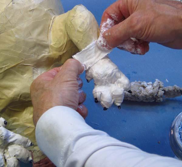 paper mache dog- cloth mache toes