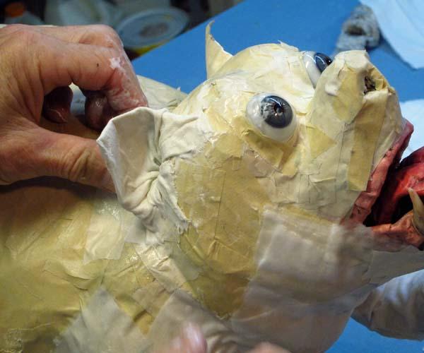 paper mache bulldog-cloth mache ear2