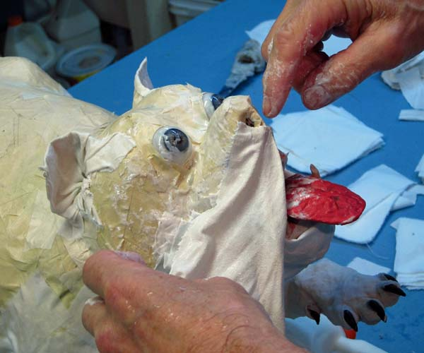 paper mache bulldog-cloth mache cheek