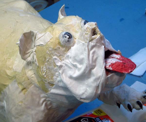 paper mache bulldog-cloth mache cheek2