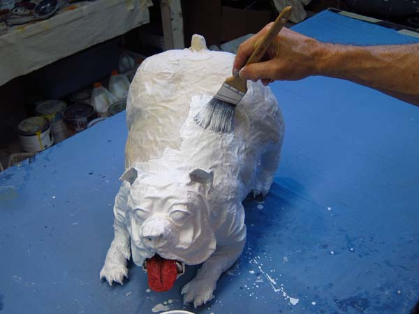 paper mache bulldog- paint white
