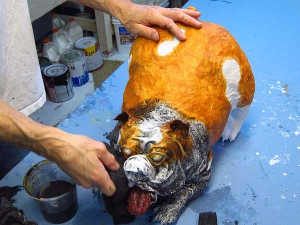 paper mache bulldog- wipe face