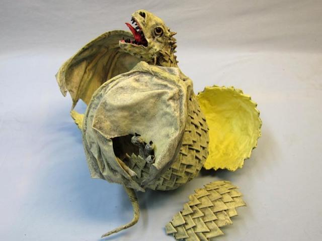 paper mache baby dragon hatching
