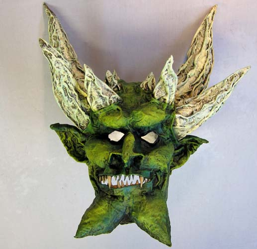 paper mache green mask-finished