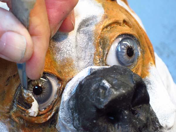 paper mache bulldog-scrape eyes
