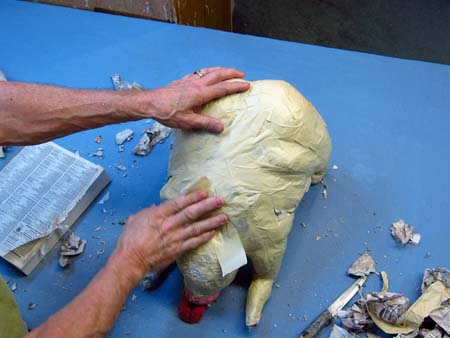 paper mache dog-body