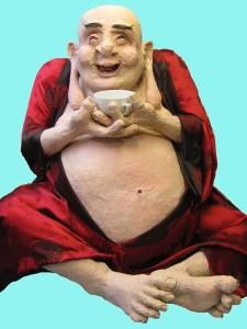Paper Mache Buddha with coffee