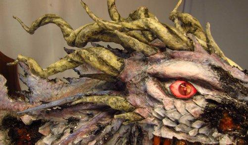 Zombie Paper Mache Dragon- close up