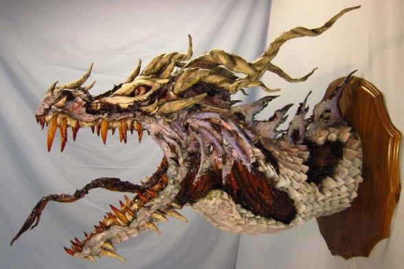 Zombie Paper Mache Dragon- more rotten side