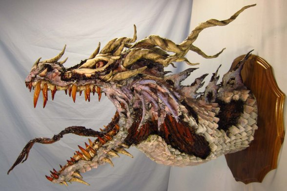 Zombie Paper Mache Dragon- more rotten side
