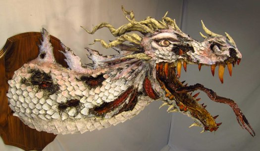 Zombie Paper Mache Dragon- less rotten side