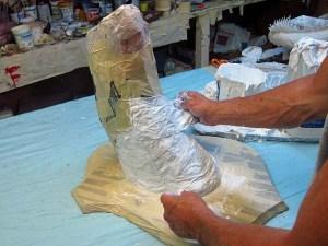 Paper Mache Drogon-add cloth