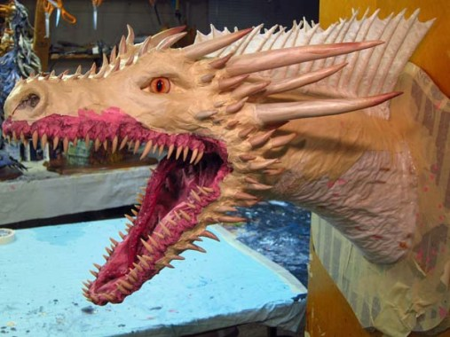 paper mache drogon- with horns added