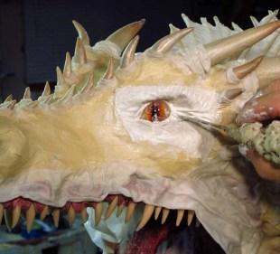 paper mache Drogon- cloth mache eyes 2