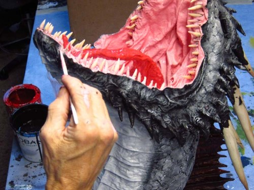 Paper Mache Drogon Tropy- paint mouth