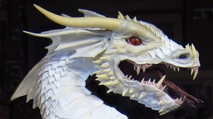 Paper mache dragon- white profile