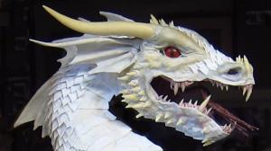 Paper mache dragon- white profile