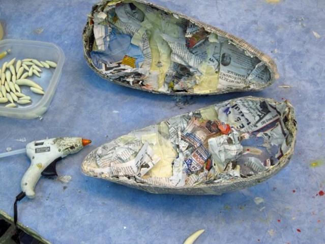 Paper mache Tiamat dragons- jaw shells plus teeth