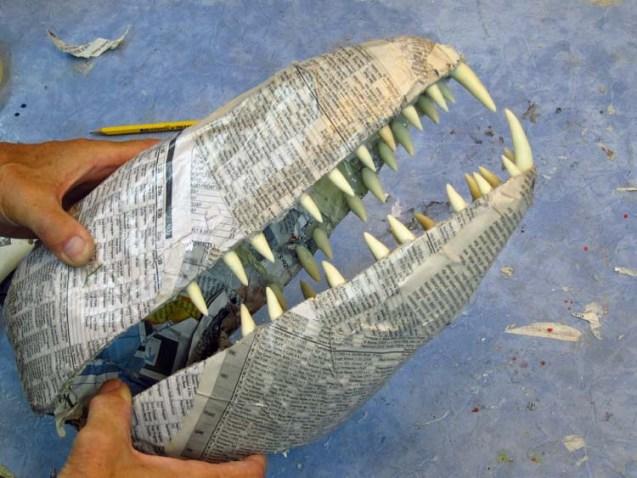 Paper mache Tiamat dragons- white jaws
