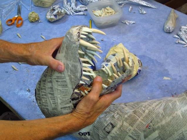 Paper mache Tiamat dragons-green dragon teeth