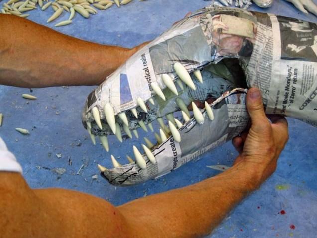 Paper mache Tiamat dragons-blue dragon teeth