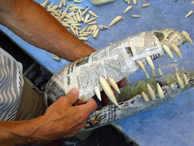 Paper mache Tiamat dragons- black dragon teeth