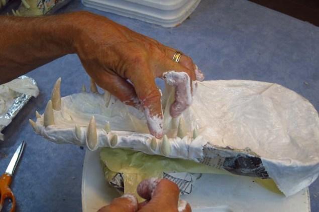 Paper mache Tiamat dragons- cloth mache jaws2