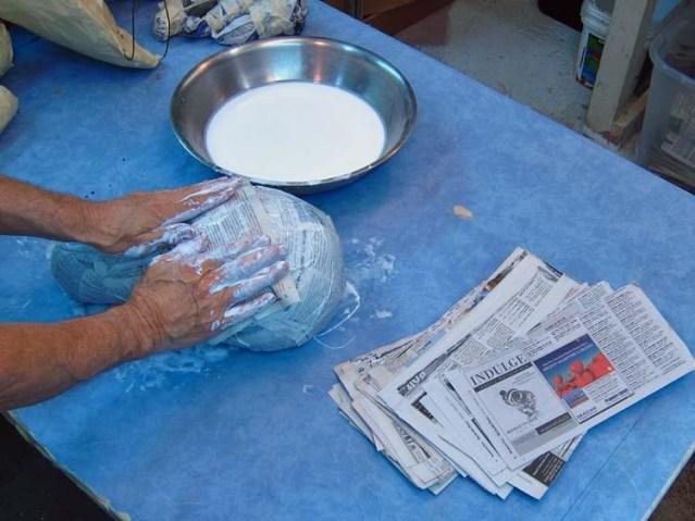 Paper mache Tiamat dragons- paper mache
