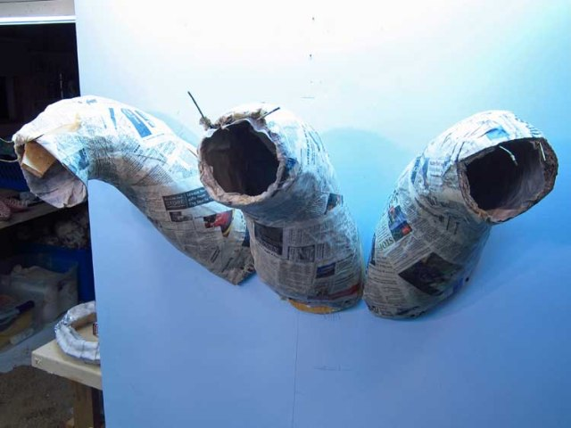 paper mache Tiamat- first three heads