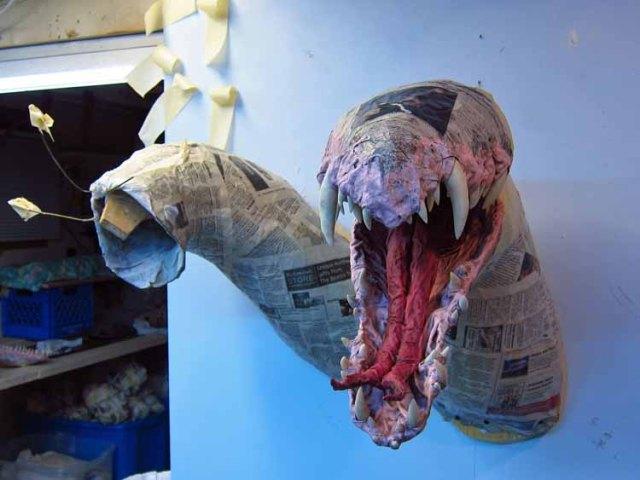 paper mache Tiamat- attach jaws