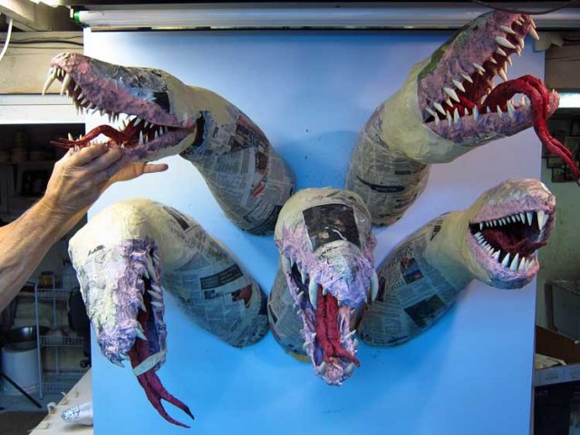 paper mache Tiamat -all jaws attached