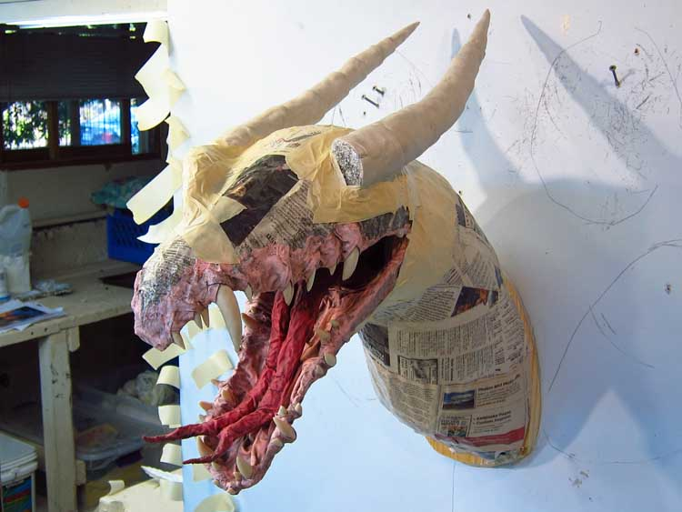 Paper mache tiamat dragon first assembly gourmet paper for How to make a sculpture out of paper mache
