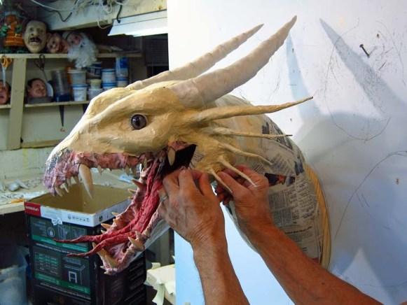 Paper Mache Tiamat dragon -red ear structure