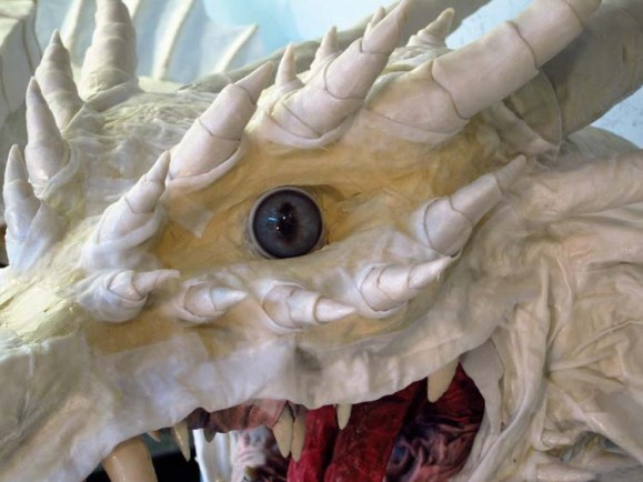 Paper Mache Tiamat dragon -red horns on face