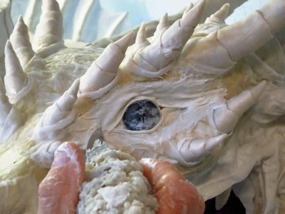 Paper Mache Tiamat dragon -white dragon eyes