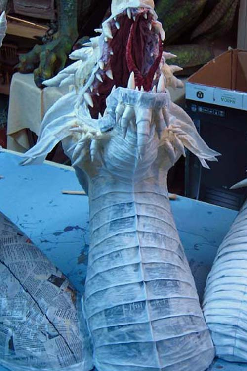 Paper Mache Tiamat dragon -red breast plates