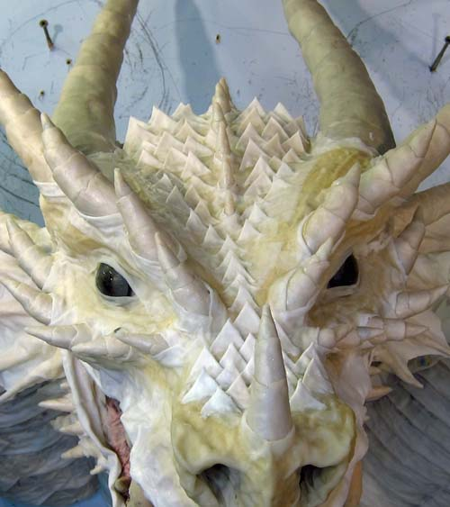 Paper Mache Tiamat dragon -red scales